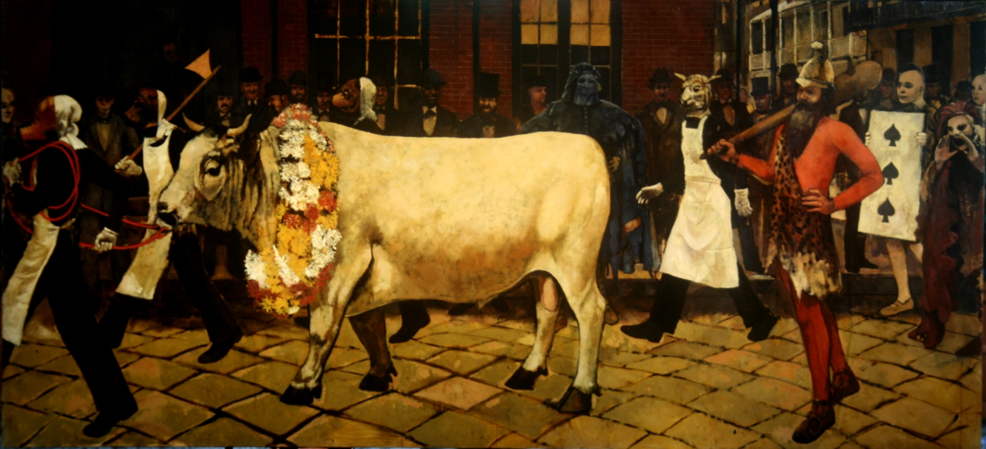 The Great Ox of Carnival 1872 :: Oil on canvas. This painting and the following six were painted for the bar at the Intercontinental Hotel , New Orleans