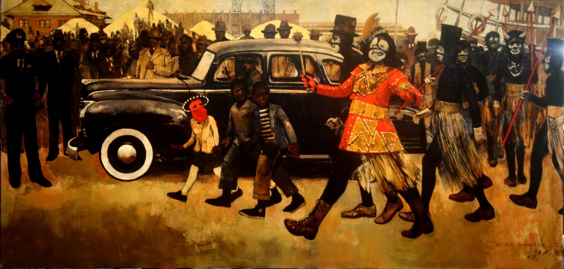 Louis Armstrong as King of Zulu 1949 :: Oil on canvas