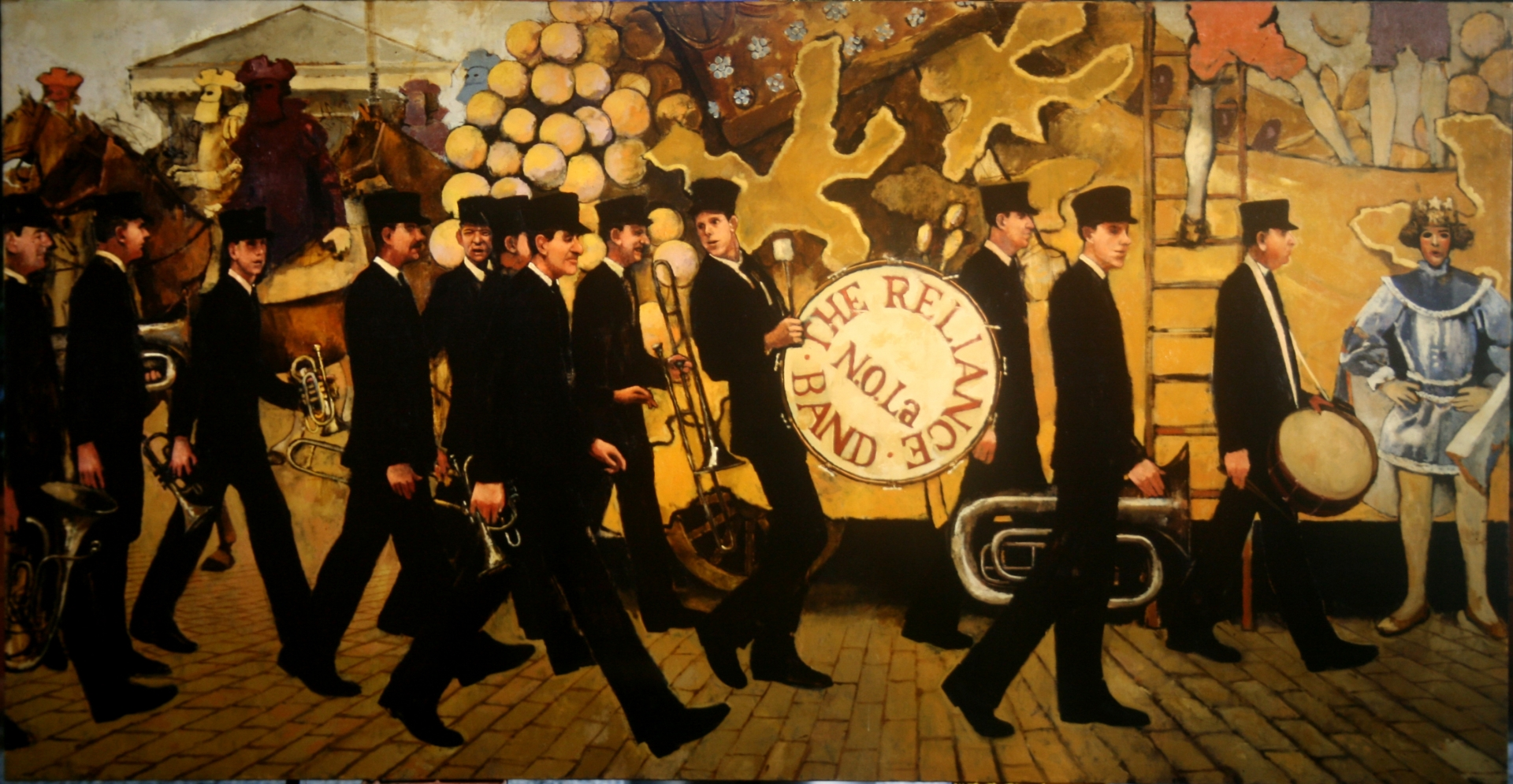 Jack Laine's Reliance Band Lining Up at the Rex Parade 1915 :: Oil on canvas
