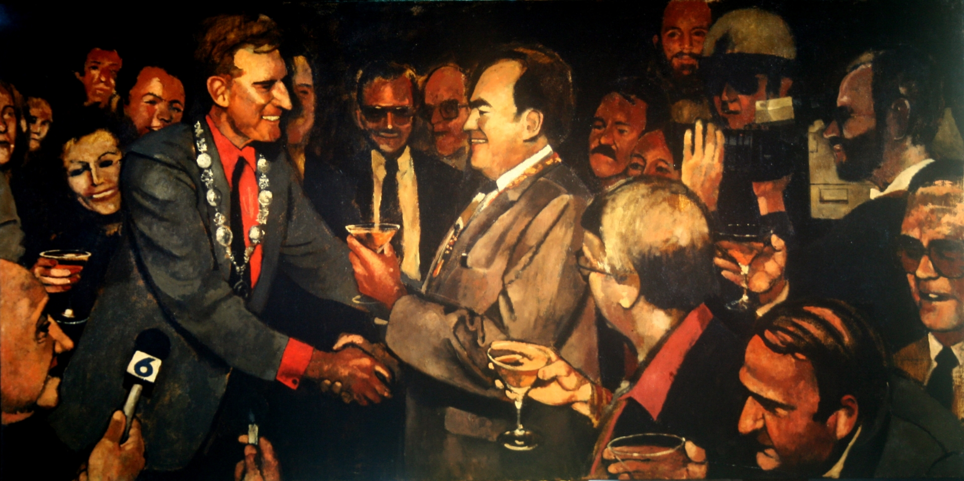 The Captain of Bacchus greeting Charleton Heston at the Airport :: Oil on canvas