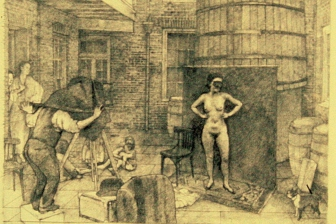Ernest Bellocq Photographing a Prostitute :: carbon pencil on rag paper