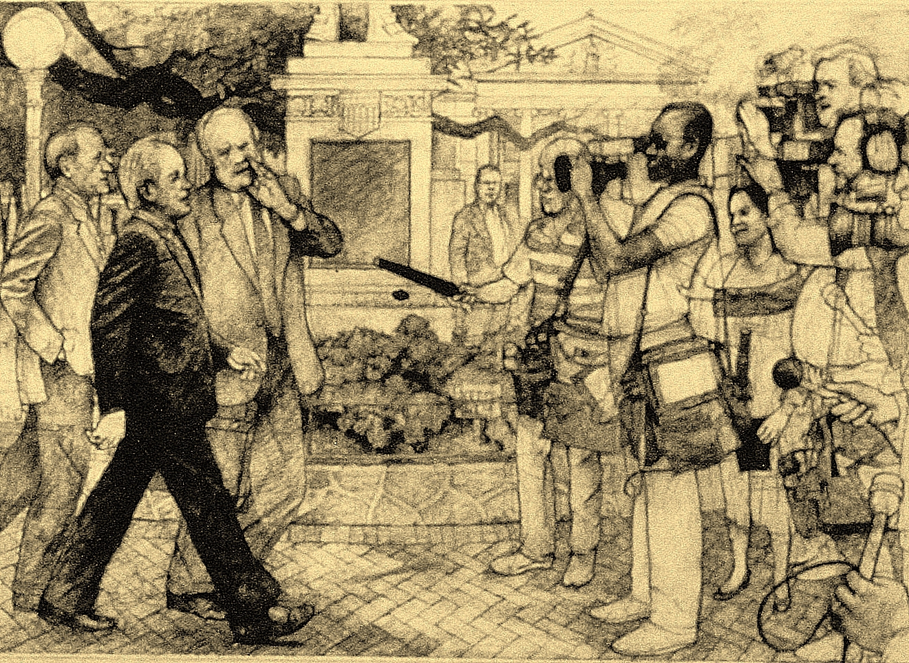 Edwin Edwards and his Lawyers :: Carbon pencil on rag paper
