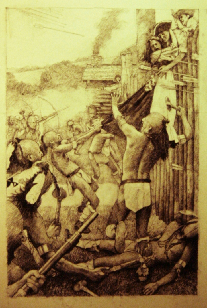 The Attack on Fort Watauga , July 4th 1776 :: Carbon pencil on rag paper
