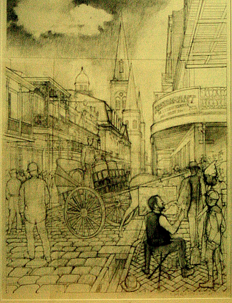 William Woodward Painting in the French Quarter, 1900 :: Carbon pencil on rag paper