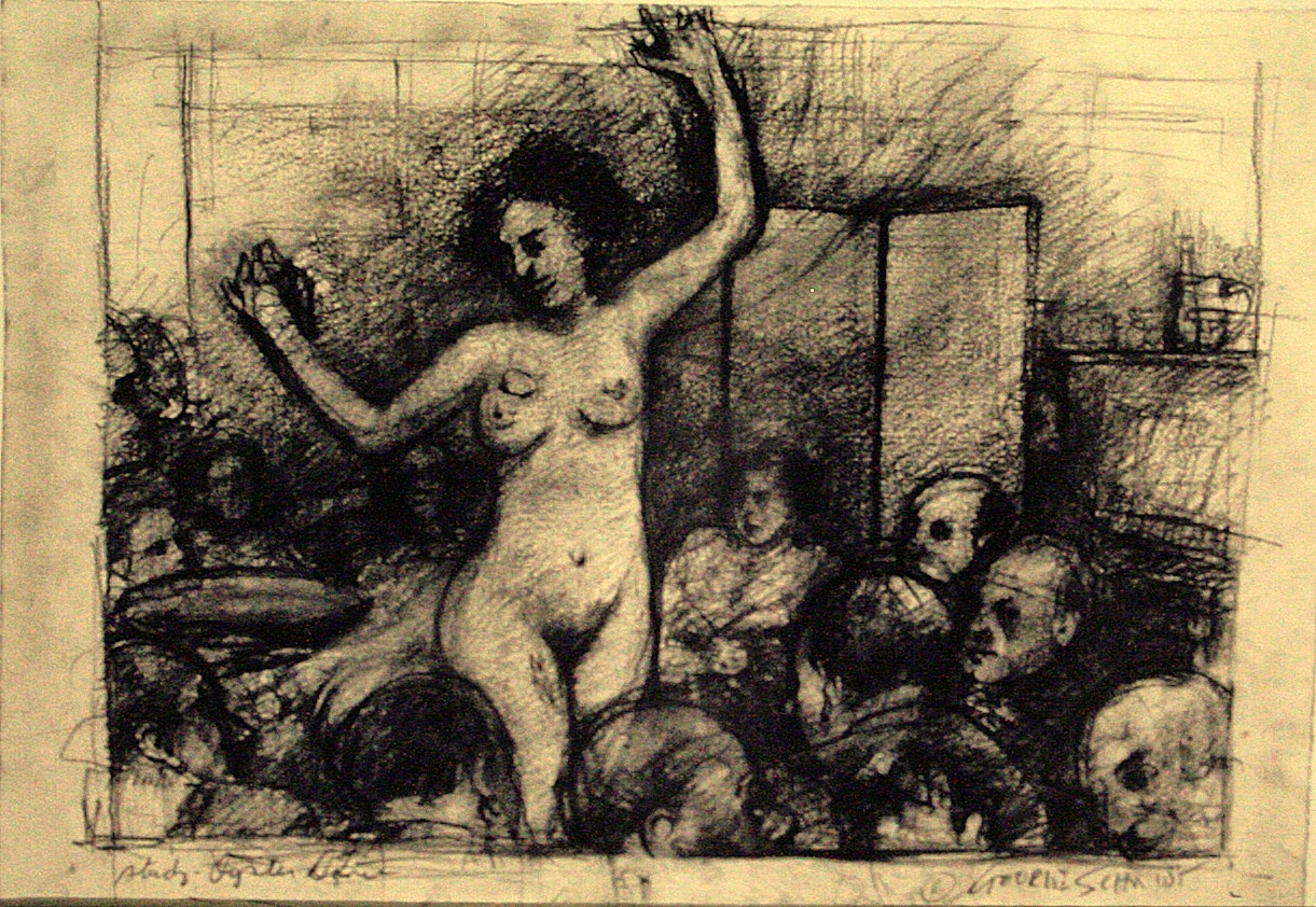 The Oyster Dance (study) :: Charcoal on rag paper