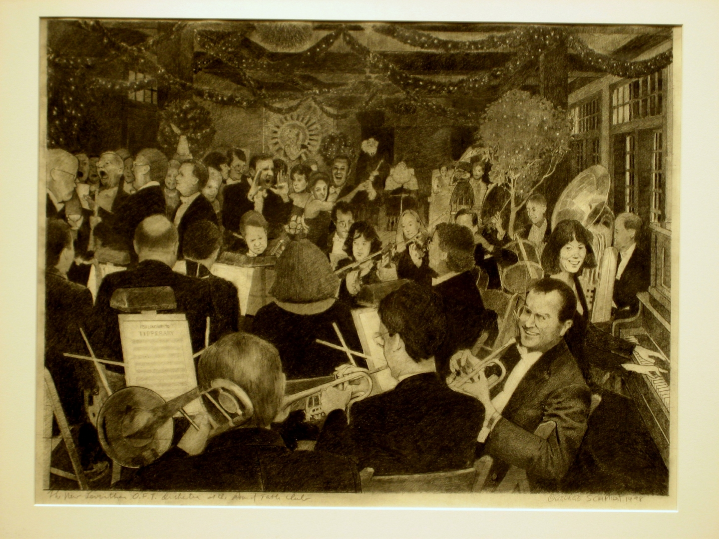 New Leviathan Orchestra at the Arthurians Ball :: Carbon pencil on rag paper