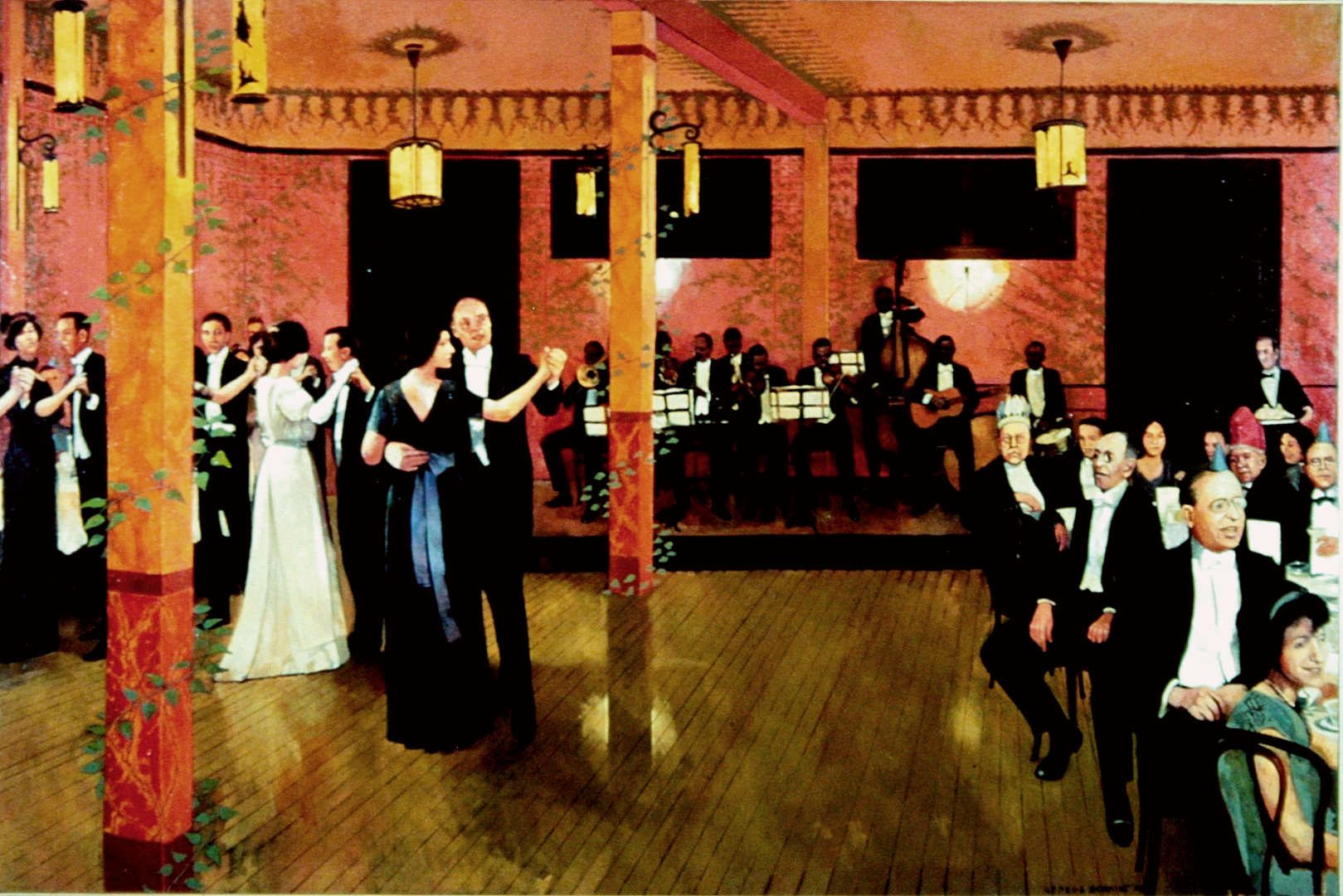 John Robichaux's Orchestra playing at the Japanese Room at Antoine's :: Oil on canvas
