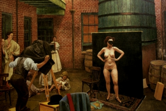 Ernest Bellocq Photographing a Prostitute :: oil on canvas