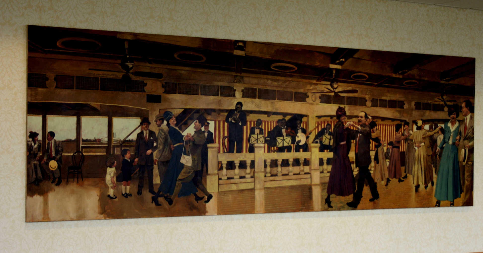 Louis Armstrong Playing on the S.S.Capitol with the fate Marable Band 1919 N.O.La. :: Oil on canvas