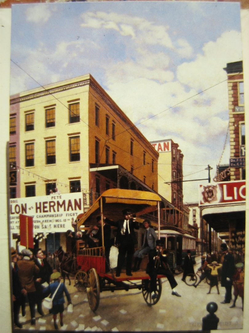 Nick Larocca at the Corner of Canal and Royal N.O. 1915 :: Oil on canvas