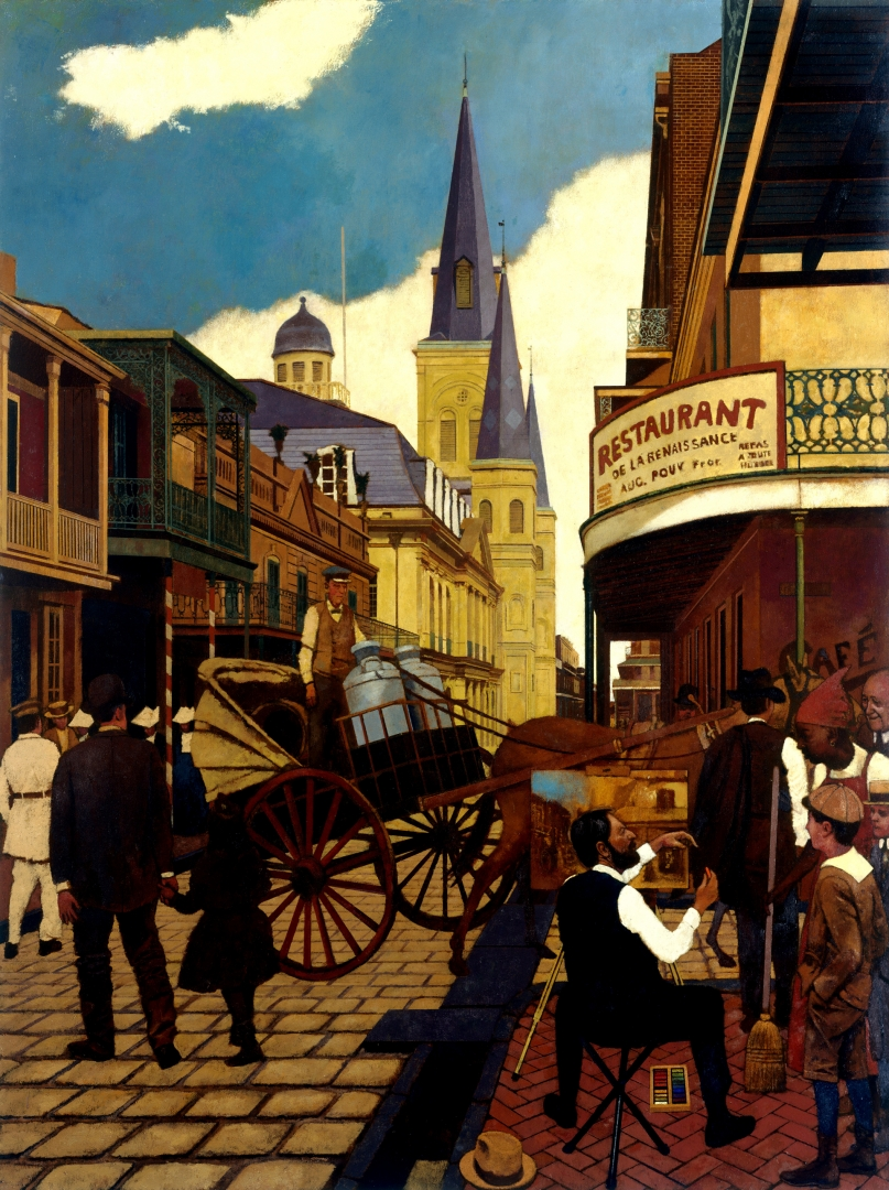 William Woodward Painting in the French Quarter 1900 :: Oil on Canvas