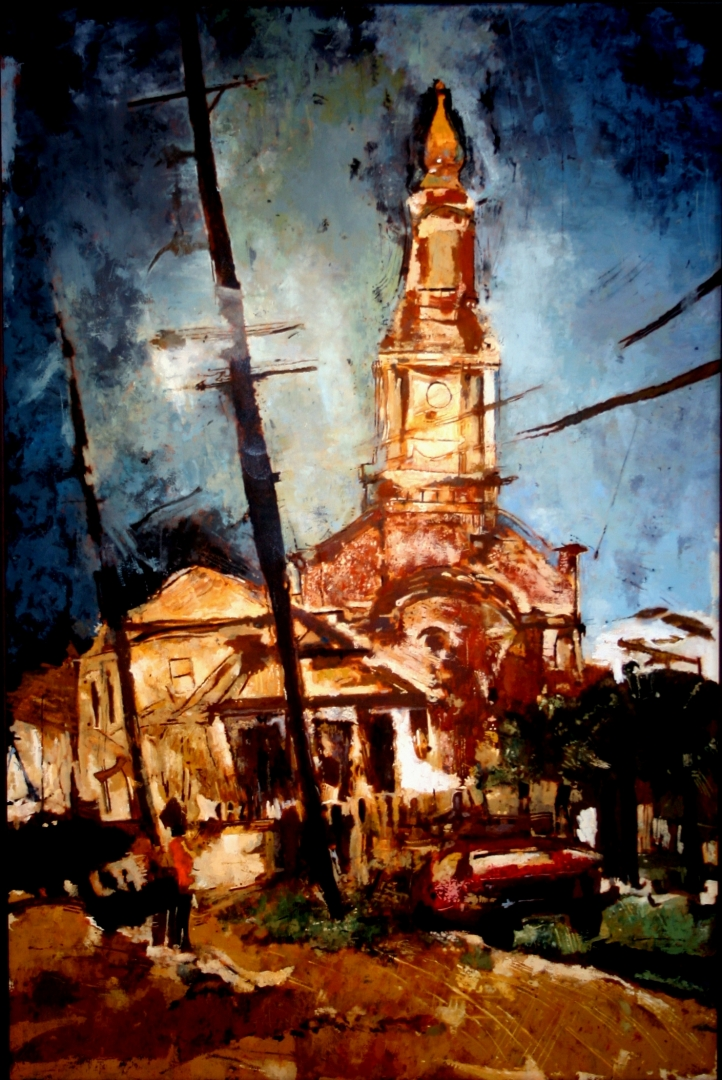 View of St. John the Baptist Church, New Orleans :: Oil on Canvas