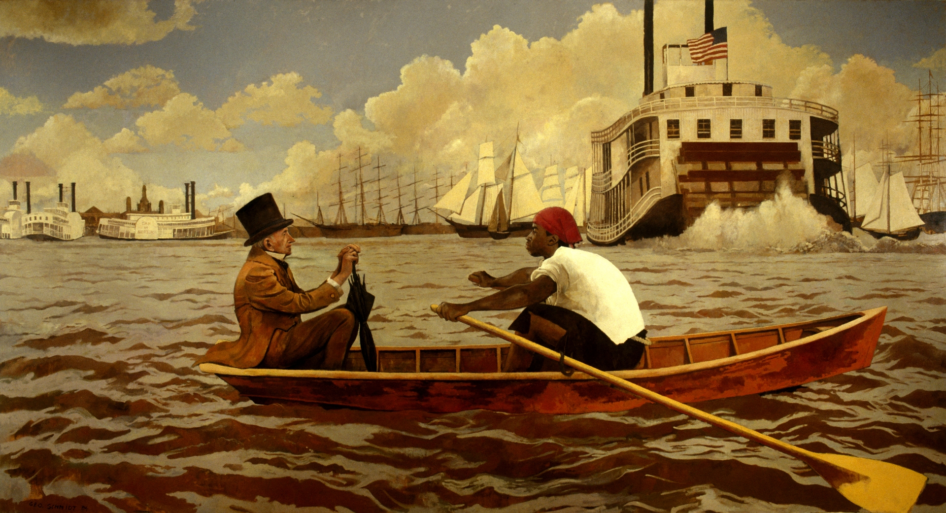 John McDonogh Being Rowed Across the River at New Orleans 1848 :: Oil on Canvas