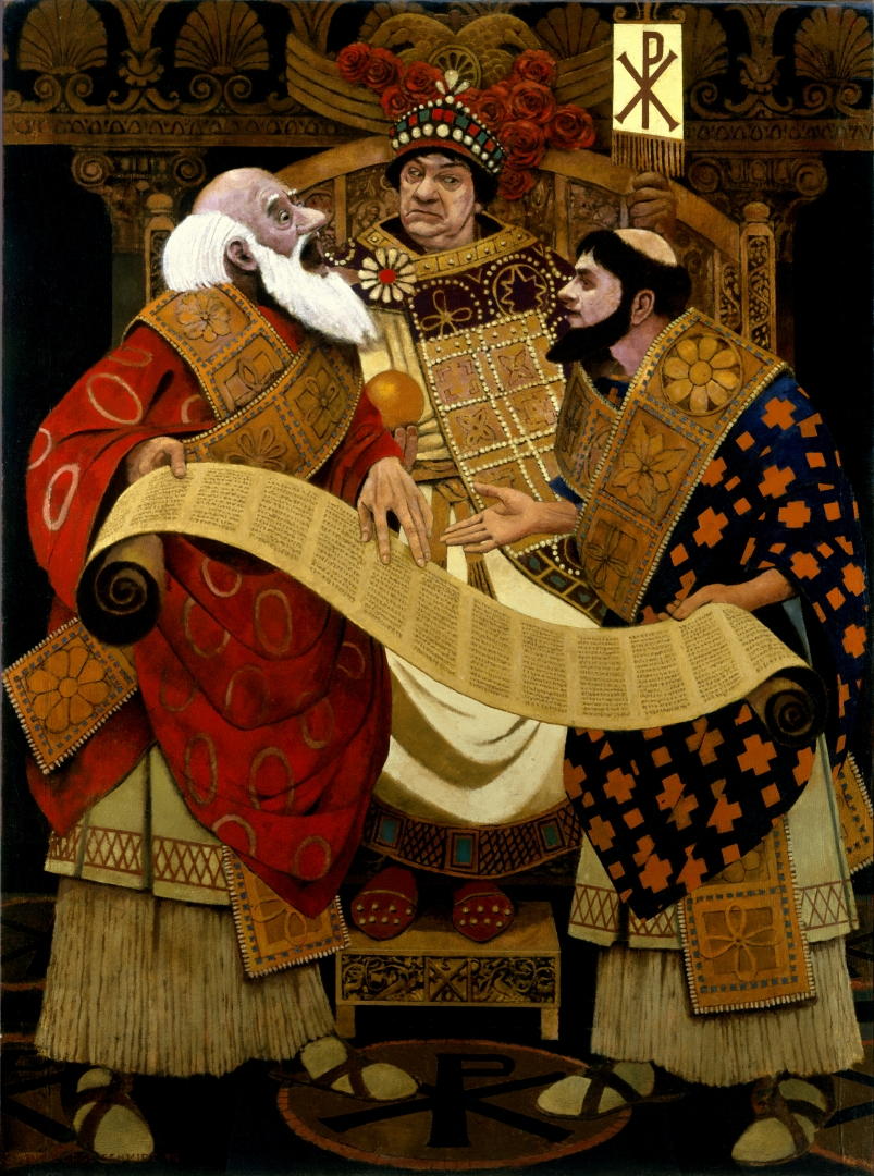 Justinian with Tribonian and Theophilus :: Oil on linen