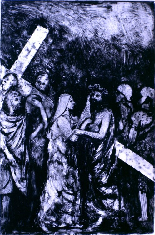 Veronica Wipes the Face of Jesus :: Monotype