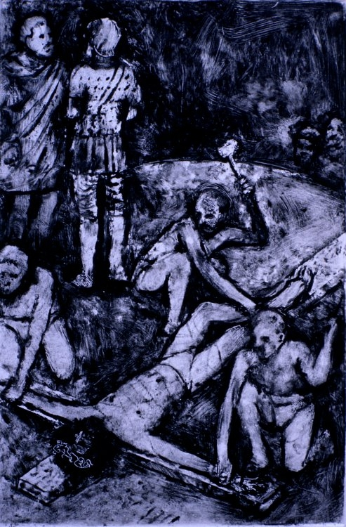 Jesus is Nailed to the Cross :: Monotype